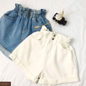 Придбати блакитні, білі жіночі літні джинсові шорти з гумкою на поясі недорого