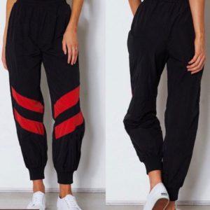 Заказать черные женские спортивные штаны на манжете с полосками (размер 42-52) онлайн