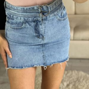 Заказать голубую женскую джинсовую юбку с необработанным краем с поясом со скидкой