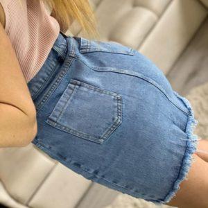 Приобрести женскую голубую рваную юбку из джинса с карманами в Одессе, Днепре