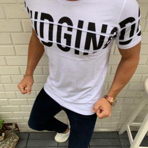 Купить белую мужскую трикотажную футболку с крупными буквами (размер 48-54) в Украине