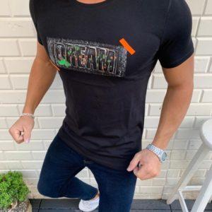 Купить черную мужскую трикотажную футболку с декором надпись (размер 48-54) по скидке