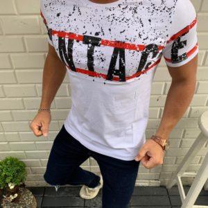Приобрести белую мужскую трикотажную футболку с надписью с каплями (размер 48-54) недорого