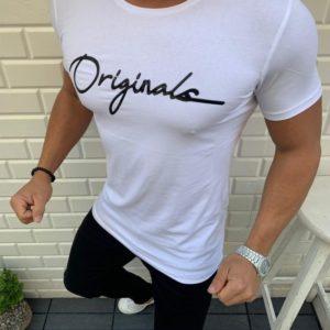 Заказать белую мужскую стрейчевую футболку с надписью Originals (размер 48-54) выгодно