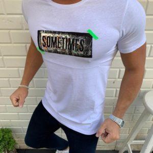 Заказать белую мужскую трикотажную футболку с декором надпись (размер 48-54) выгодно