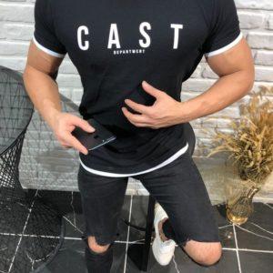 Приобрести черную мужскую структурную футболку с надписью (размер 46-52) онлайн