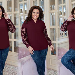 Купить бордо женскую элегантную блузку со вставкой из флога на рукавах (размер 50-60) в Украине