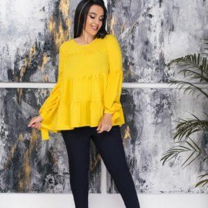 Купить желтую женскую блузку oversize с длинным рукавом с воланами (размер 50-64) выгодно
