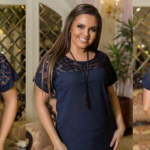 Приобрести синюю женскую летнюю блузку со вставкой из гипюра (размер 48-54) выгодно