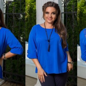 Заказать электрик женскую летнюю блузку из креп шифона с кружевом на спинке (размер 48-54) недорого
