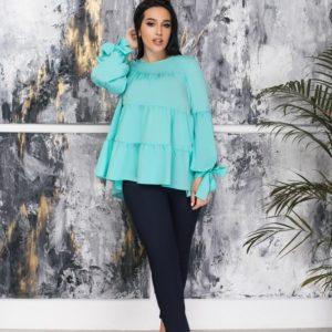 Заказать мятную женскую блузку oversize с длинным рукавом с воланами (размер 50-64) выгодно