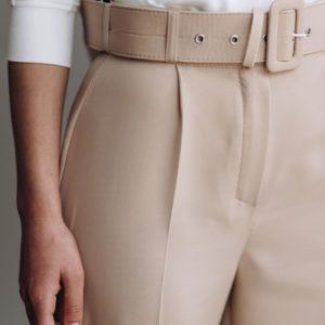 Приобрести женские бежевые брюки с поясом 7/8 из крепа онлайн
