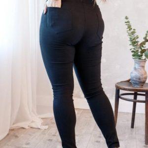 Заказать черные женские стрейчевые джеггинсы на резинке с карманами (размер 48-62) по низким ценам