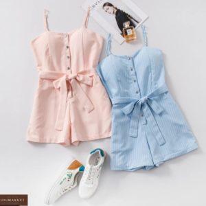 Замовити пудра, блакитний жіночий літній комбінезон на кнопках з шортами в вертикальну смужку онлайн