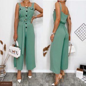 Купить зеленый женский брючный комбинезон с поясом на широких лямках (размер 42-48) дешево