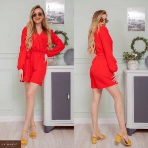 Замовити червоний жіночий комбінезон на запах з довгим рукавом з шортами в Україні