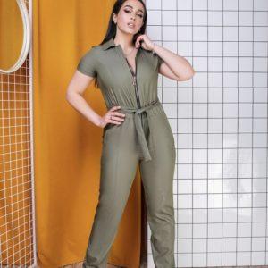 Купить хаки женский джинсовый комбинезон на змейке с поясом (размер 50-64) онлайн
