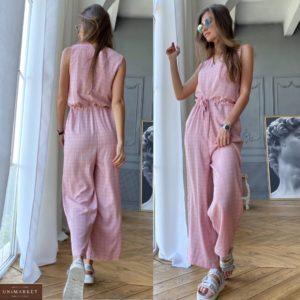 Заказать розовый женский льняной комбинезон в клетку с карманами недорого