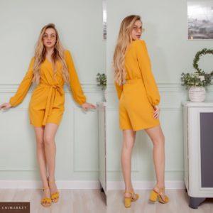 Купити жовтий жіночий комбінезон на запах з довгим рукавом з шортами недорого