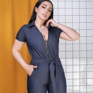 Заказать синий женский джинсовый комбинезон на змейке с поясом (размер 50-64) по скидке