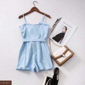 Придбати блакитний жіночий літній комбінезон на кнопках з шортами в вертикальну смужку онлайн