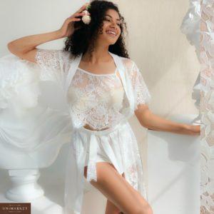 Купить женский кружевной белый комплект тройка: халат, майка и шорты (размер 42-48) в Украине