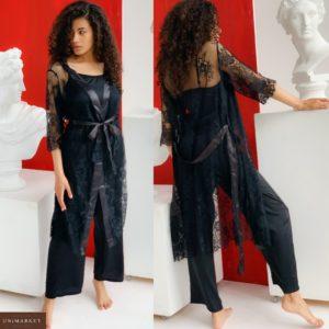 Купить черный женский комплект тройка: кружевной халат+ шелковая пижама со штанами (размер 42-54) в инетрнет-магазине