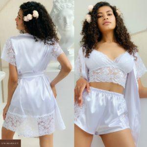 Заказать белый женский комплект тройка: кружевной топ+ халат и шорты из шелка (размер 42-48) выгодно