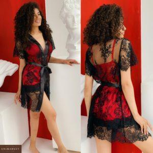 Заказать черно-красный женский комплект тройка: кружевной халат с топом и шортами (размер 42-54) по скидке