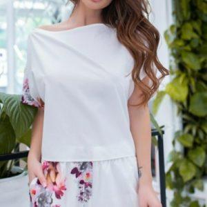 Заказать белый женский костюм: футболка на завязках+шорты с цветочным принтом (размер 42-56) выгодно
