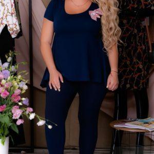 Заказать синий женский летний трикотажный костюм с легкой баской (размер 54-60) по низким ценам