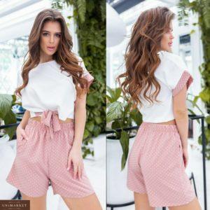 Заказать розовый женский костюм: широкая футболка на завязках+шорты с карманами (размер 42-56) выгодно