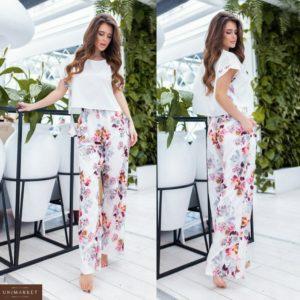 Заказать цветочный женский свободный костюм: футболка с принтованными штанами (размер 42-56) в Украине