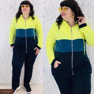 Купить зеленый женский трехцветный спортивный костюм на змейке (размер 48-66) выгодно