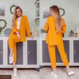 Заказать желтый женский однотонный костюм: пиджак+штаны из льна по низким ценам