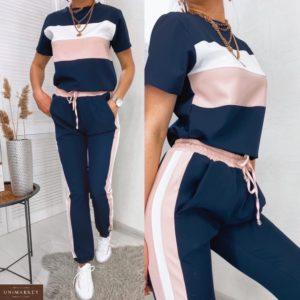 Заказать синий женский трехцветный прогулочный костюм: штаны с лампасами+футболка (размер 42-48) по скидке