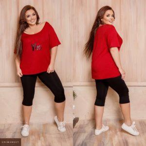 Заказать бордо женский трикотажный прогулочный костюм: свободная футболка+лосины (размер 48-62) выгодно