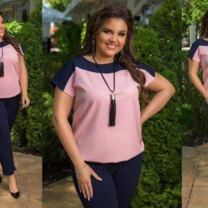 Заказать синий/розовый женский костюм: брюки+кофта с коротким рукавом с украшением в комплекте (размер 50-60) в Украине