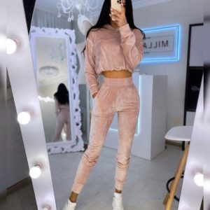 Купить бежево-розовый женский бархатный спортивный костюм в Украине