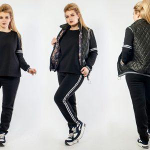 Купить черный женский теплый костюм на флисе с жилеткой (размер 48-64) недорого