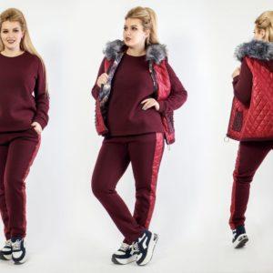 Приобрести бордо женский костюм тройка с жилеткой с декором на карманах (размер 48-64) в Днепре