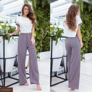 Купить фиолетовый женский свободный костюм: футболка с принтованными штанами (размер 42-56) выгодно