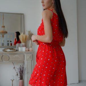 Купить красный женский костюм тройка: шорты, топ и кофта свободного кроя (размер 42-54) онлайн в интернете