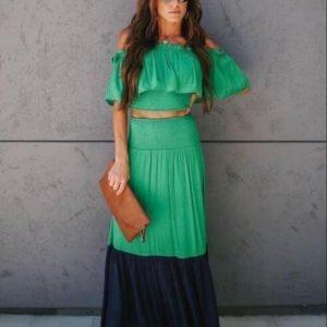 Заказать женский летний зеленый костюм: юбка в пол+топ с открытыми плечами (размер 42-48) онлайн