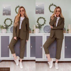 Купить хаки женский однотонный костюм: пиджак+штаны из льна по скидке