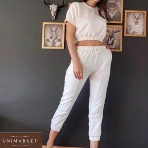 Приобрести женский белый прогулочный костюм: штаны с топом из трикотажа онлайн