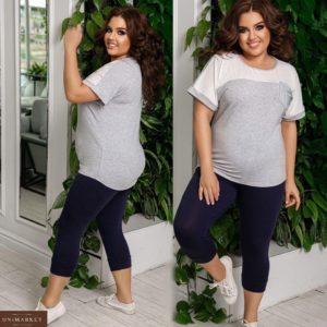 Заказать серый женский легкий костюм из вискозы: футболка+бриджи на резинке (размер 48-62) онлайн