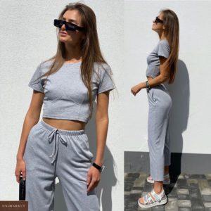 Заказать серый женский костюм: штаны с топом недорого