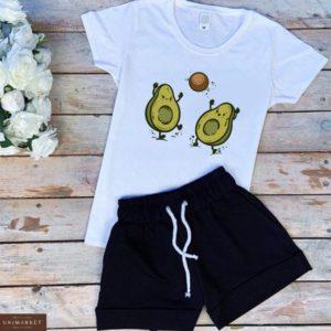 Купить белый/черный женский трикотажный костюм: шорты+футболка с принтом авокадо недорого