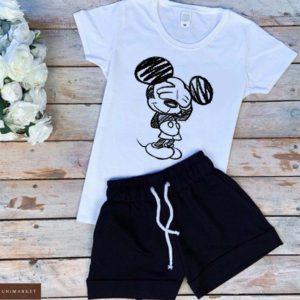 Заказать белый/черный женский трикотажный костюм: шорты+футболка с принтом Микки Маус онлайн